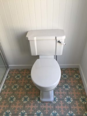 traditional toilet, patterend tiles