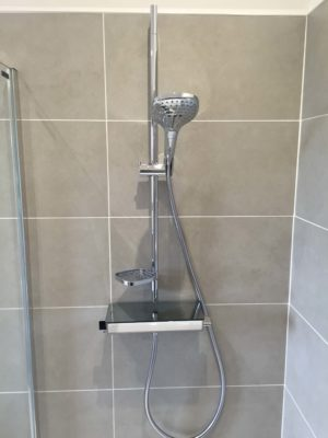 close-up of modern shower