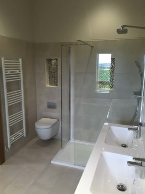 New bathroom with large glass shower enclosure 3